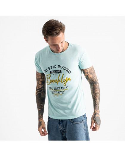 2602-8 светло-голубая футболка мужская с принтом (4 ед. размеры: M.L.XL.2XL) Футболка