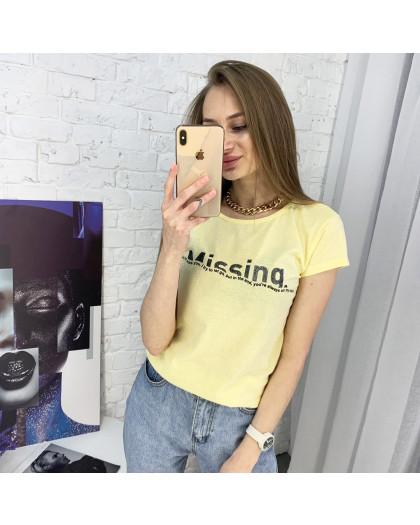 2401-6 желтая футболка женская с принтом (4 ед. размеры: S.M.L.XL) Футболка