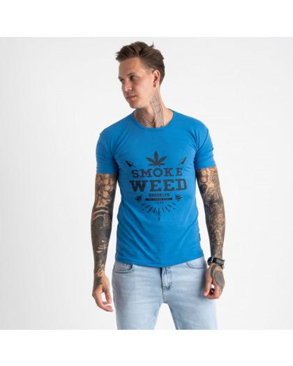 2613-12 голубая футболка мужская с принтом (4 ед. размеры: M.L.XL.2XL) Футболка