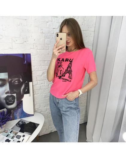2056-3 футболка розовая женская с принтом (5 ед. размеры: 42.44.46.48.50) Футболка
