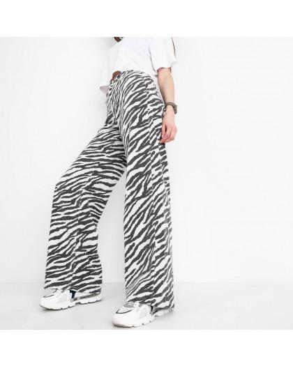 4848 мом-клеш зебра котоновые (8 ед. размеры: 25.26/2.28/2.30/2.32) Джинсы