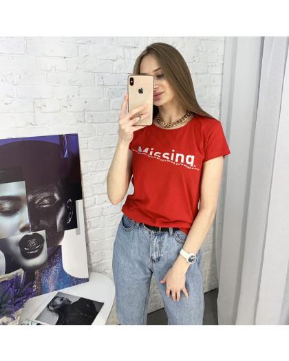 2401-3 красная футболка женская с принтом (4 ед. размеры: S.M.L.XL) Футболка