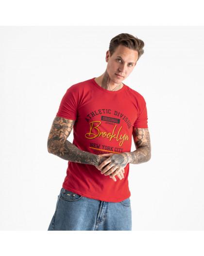 2602-3 красная футболка мужская с принтом (4 ед. размеры: M.L.XL.2XL) Футболка