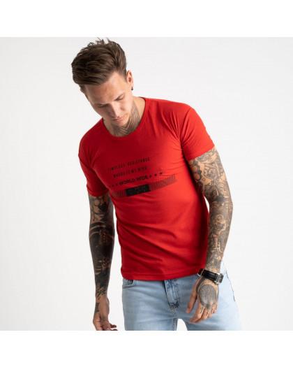 2619-3 красная футболка мужская с принтом (4 ед. размеры: M.L.XL.2XL) Футболка