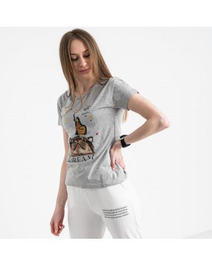 2516-5 Akkaya серая футболка женская с принтом стрейчевая (4 ед. размеры: S.M.L.XL) Akkaya