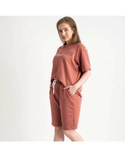 2215-5 Mishely терракотовый женский спортивный костюм батальный из двунитки  (4 ед. размеры: 50.52.54.56) Mishely