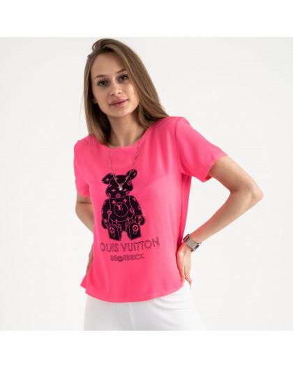 2021-2 футболка розовая женская с принтом (5 ед. размеры: 42.44.46.48.50)  Футболка