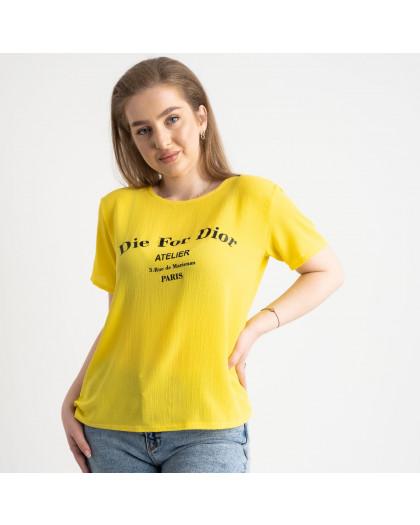 2024-6  желтая  футболка женская полубатальная с принтом (5 ед. размеры: 52.54.56.58.60) Футболка