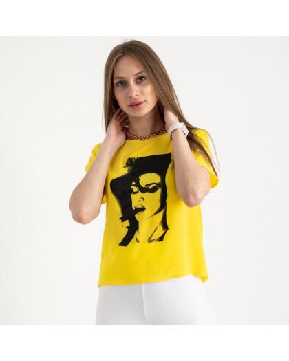 2022-6 футболка желтая женская с принтом (5 ед. размеры: 42.44.46.48.50)  Футболка