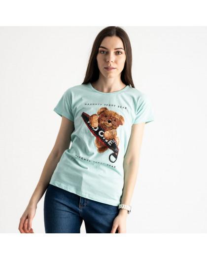 2570-4 бирюзовая футболка женская с принтом (3 ед. размеры: S.M.L) Футболка