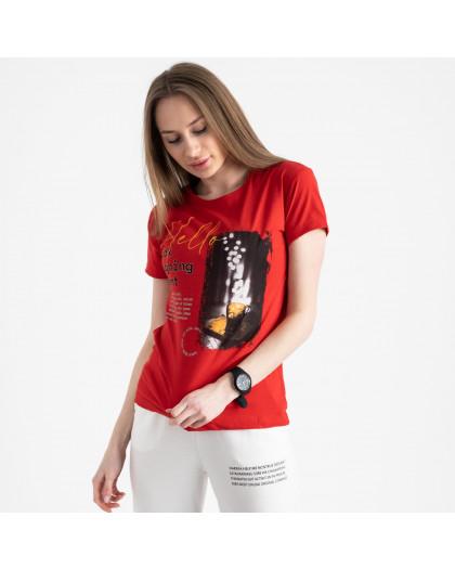 2504-3 Akkaya красная футболка женская с принтом стрейчевая (4 ед. размеры: S.M.L.XL) Akkaya