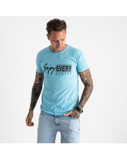 2616-13 голубая футболка мужская с принтом (4 ед. размеры: M.L.XL.2XL) Футболка