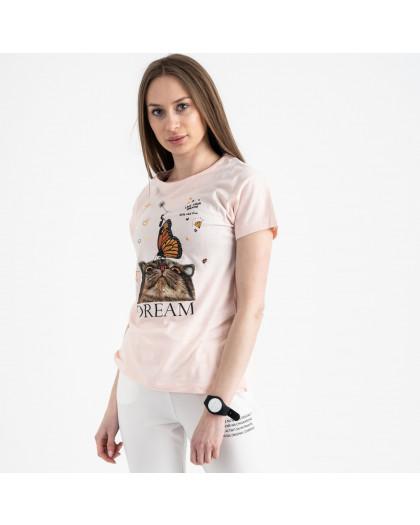 2516-2 Akkaya розовая футболка женская с принтом стрейчевая (4 ед. размеры: S.M.L.XL) Akkaya