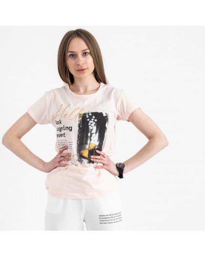 2504-2 Akkaya розовая футболка женская с принтом стрейчевая (4 ед. размеры: S.M.L.XL) Akkaya