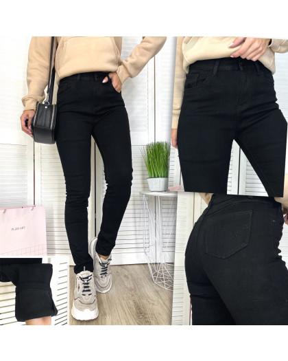 0569 New Jeans американка полубатальная на флисе черная зимняя стрейчевая (28-33, 6 ед.) New Jeans