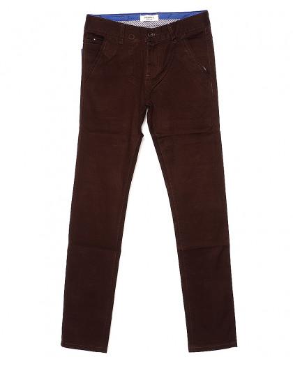 0668-31 Disvocas брюки мужские молодежные с косым карманом коричневые весенние стрейчевые (28-36, 8 ед.) Disvocas