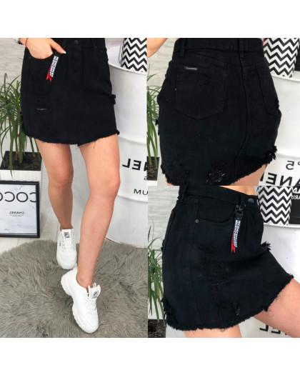 V 0033-15 Relucky юбка джинсовая черная с рванкой весенняя котоновая (25-30, 6 ед.) Relucky
