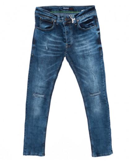 4391 Destry джинсы мужские с рванкой синие осенние стрейчевые (29-36, 8 ед.) Destry