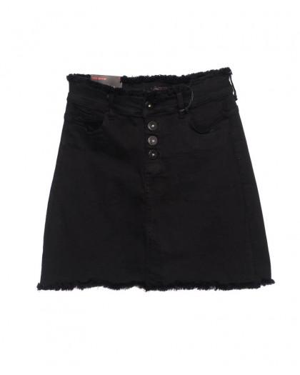 0537 REDMOON юбка джинсовая черная на пуговицах осенняя стрейчевая (25-30, 6 ед.)  REDMOON