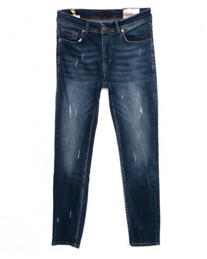 0514 REDMOON джинсы мужские с царапками синие осенние стрейчевые (30-36, 6 ед.)  REDMOON