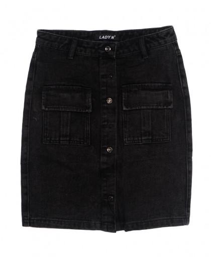 1353 Lady N юбка джинсовая на пуговицах черная осенняя котоновая (25-30, 6 ед.) Lady N