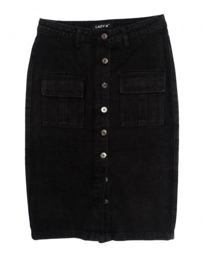 1355 Lady N юбка джинсовая батальная черная осенняя котоновая (28-33, 6 ед.) Lady N