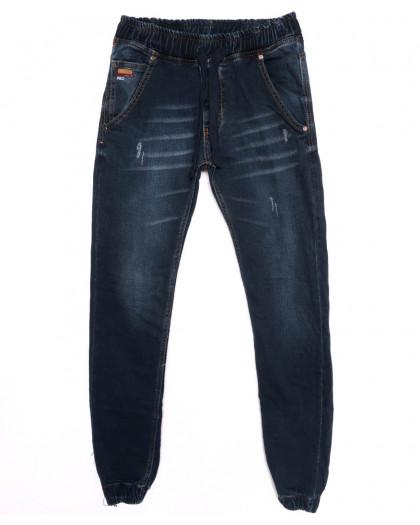 5128 Denim джинсы мужские с царапками на резинке синие осенние стрейчевые (29-36, 8 ед.) Denim