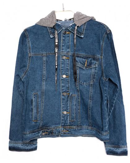 8012 X куртка женская джинсовая с капюшоном синяя осеняя котоновая (S-3XL, 6 ед.) X