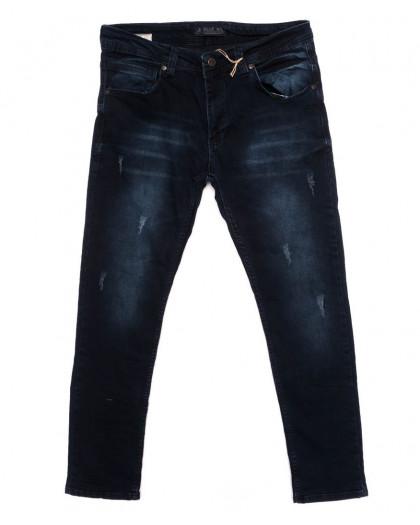 4885 Blue Nil джинсы мужские с царапками синие осенние стрейчевые (29-36, 8 ед.) Blue Nil