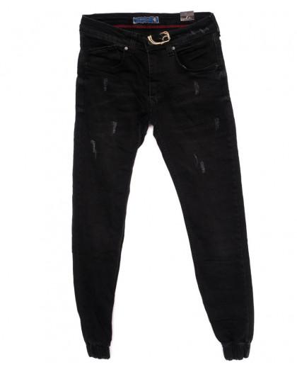 5359 Destry джинсы мужские с царапками черные на резинке  осенние стрейчевые (29-36, 8 ед.) Destry