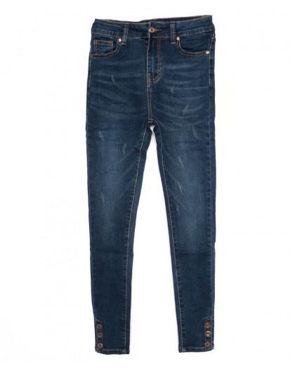 3376 New jeans американка с царапками синяя осенняя стрейчевая (25-30, 6 ед.)  New Jeans