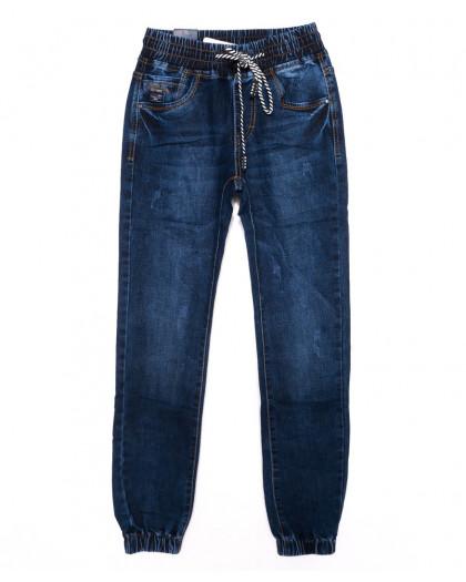 9232 Baron джинсы мужские молодежные на резинке с царапками синие осенние стрейчевые (28-36, 8 ед.) Baron