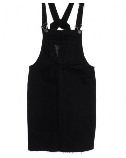 0910-черный Defile сарафан джинсовый с царапками черный осенний котоновый (34-40, евро, 6 ед.) Defile