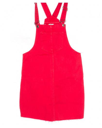0910-красный Defile сарафан джинсовый красный осенний котоновый (34-40, евро, 7 ед.) Defile