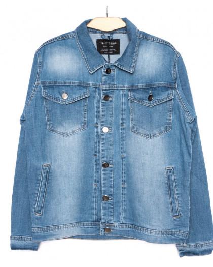 2030-2 In Yesir куртка джинсовая мужская  батальная синяя осенняя стрейч-котон (XL-5XL, 5 ед.) In Yesir