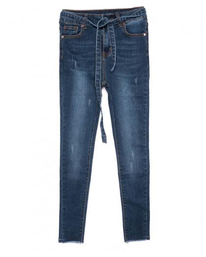 3468 New jeans американка с царапками с поясом синяя осенняя стрейчевая (25-30, 6 ед.) New Jeans