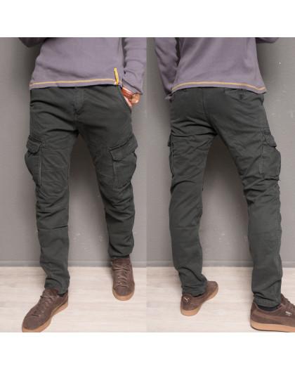 1869-grey Forex брюки мужские молодежные карго на флисе зимние стрейч-котон (28-40, 10 ед.) Forex