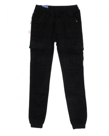 6611 REIGOUSE джинсы мужские молодежные на резинке черные осенние стрейчевые (27-34, 8 ед) REIGOUSE