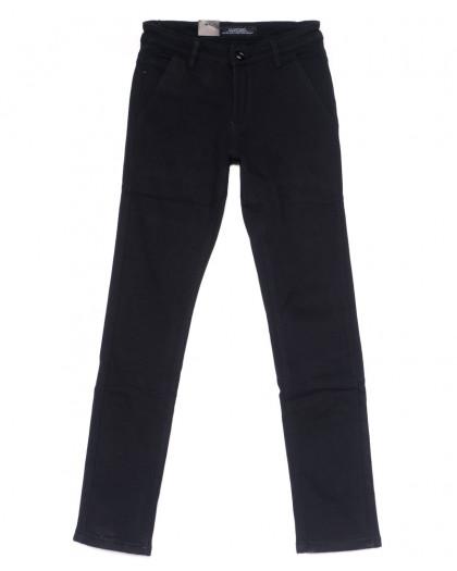 4016-X LS брюки мужские молодежные темно-синие на флисе зимние стрейч-котон (27-34, 8 ед) LS