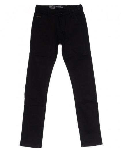 4007 LS брюки мужские молодежные черные на флисе зимние стрейч-котон (28-36, 8 ед) LS