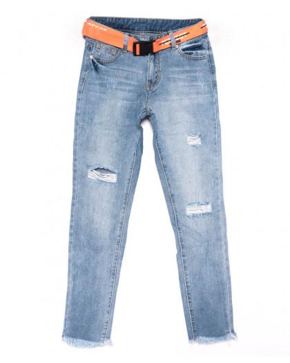 3588 New jeans мом голубой с царапками весенний коттоновый (25-30, 6 ед.) New Jeans