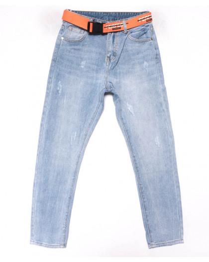 3615 New jeans мом голубой с царапками весенний коттоновый (25-30, 6 ед.) New Jeans