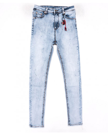 3576 New jeans американка голубая с царапками весенняя стрейчевая (25-30, 6 ед.) New Jeans