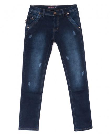 3710 Bigboss джинсы мужские синие молодежные с царапками на флисе зимние стрейчевые (27-34, 8 ед.) Bigboss
