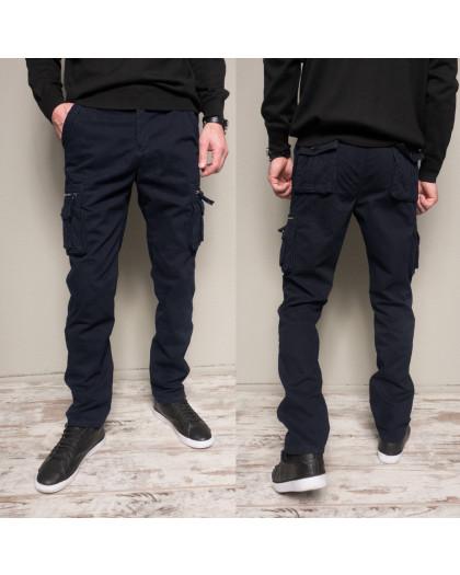 1862-dark blue Forex брюки мужские карго на флисе зимние стрейч-котон (30-40, 10 ед.) Forex