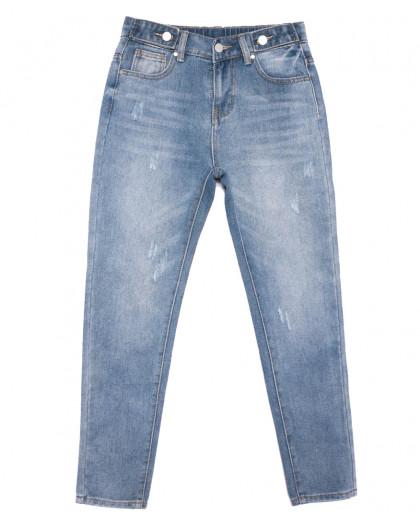 3653 New jeans мом с царапками синий весенний коттоновый (25-30, 6 ед.) New Jeans