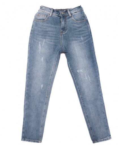 3654 New jeans мом с царапками синий весенний коттоновый (25-30, 6 ед.) New Jeans
