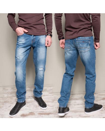 9902-3 R Relucky джинсы мужские с царапками синие весенние стрейчевые (29-38, 8 ед.) Relucky