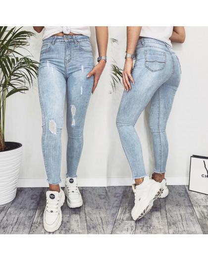 3599 New jeans американка голубая с царапками весенняя стрейчевая (25-30, 6 ед.) New Jeans