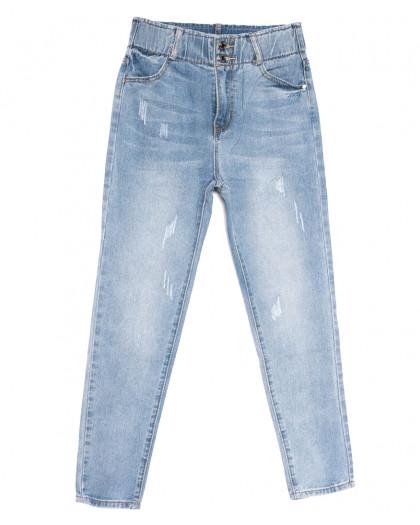 3671 New jeans мом с царапками синий весенний коттоновый (25-30, 6 ед.) New Jeans